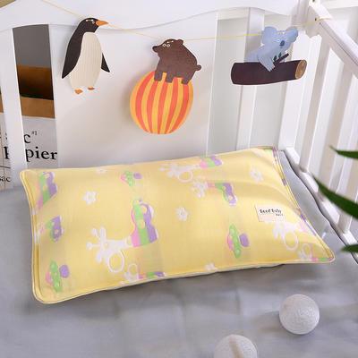 2019新款兒童紗布水洗枕舒適枕安睡枕枕頭枕芯 其它 長頸鹿黃