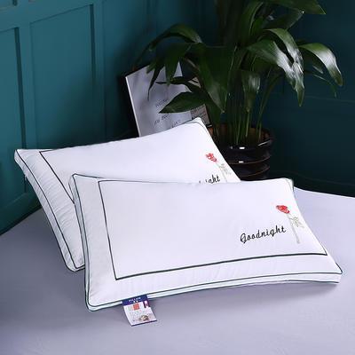 2019新款全棉玫瑰刺繡羽絲枕舒適枕安睡枕枕頭枕芯 全棉玫瑰刺繡羽絲枕