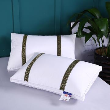 2019新款全棉爽肤织带羽丝枕舒适枕安睡枕枕头枕芯