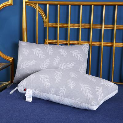 2019新款全棉双层纱布羽丝枕枕芯安睡枕护颈枕枕头(48*74cm) 灰