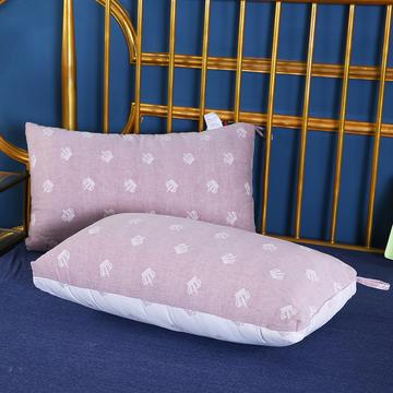 2019新款全棉双层纱布羽丝枕枕芯安睡枕护颈枕枕头(48*74cm)