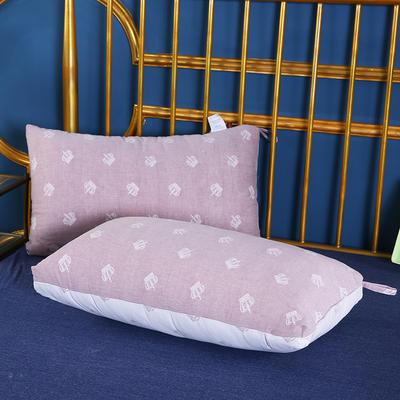 2019新款全棉双层纱布羽丝枕枕芯安睡枕护颈枕枕头(48*74cm) 陀