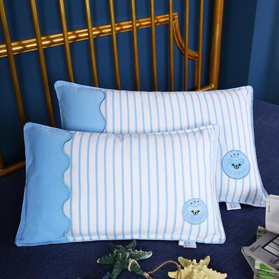 2020新款-全棉绣花拼色儿童水洗枕幼儿园小学生安睡枕枕头枕芯(32*50cm ) 蓝色/只