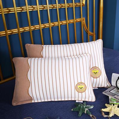 2020新款-全棉绣花拼色儿童水洗枕幼儿园小学生安睡枕枕头枕芯(32*50cm ) 驼色/只
