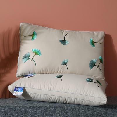 2020新款全棉绣花羽丝枕枕头枕芯 银杏叶48*74cm/一只