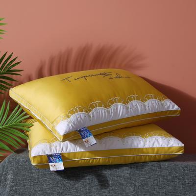 2020新款助全棉羽丝英伦花边枕头枕芯 黄色48*74cm/一只