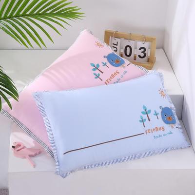 2020新款卡通绣花儿童水洗枕枕头枕芯--滚边款32*50cm 萌萌熊 粉(水洗芯)/一只