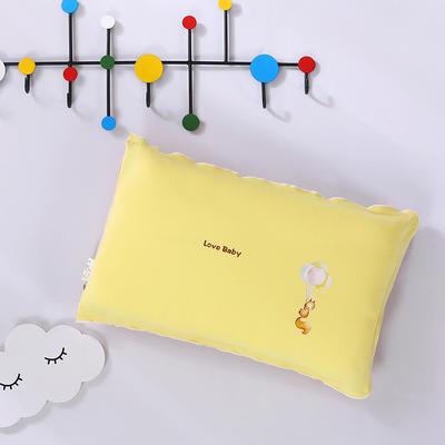 2020新款彩棉针织儿童保健枕32*50cm/只 松鼠黄