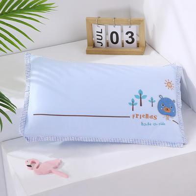 2020新款卡通绣花儿童水洗枕枕头枕芯--滚边款30*48cm/只 快乐熊--蓝(水洗芯)