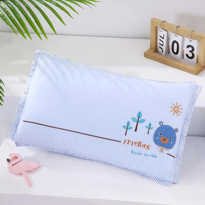 2020新款卡通绣花儿童水洗枕枕头枕芯--滚边款30*48cm/只 快乐熊--蓝(荞麦芯)