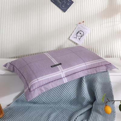2021新款全棉月芽边波浪儿童枕枕头枕芯(40*60cm/只) 紫大格(外套全棉+羽丝芯)