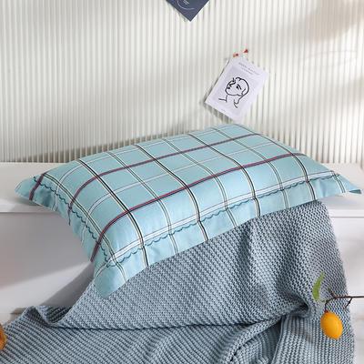 2021新款全棉月芽边波浪儿童枕枕头枕芯(40*60cm/只) 蓝格调(外套全棉+羽丝芯)