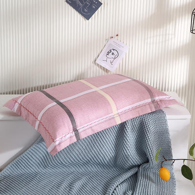 2021新款全棉月芽边波浪儿童枕枕头枕芯(40*60cm/只) 粉大格(外套全棉+羽丝芯)