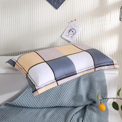 2021新款全棉月芽边波浪儿童枕枕头枕芯(40*60cm/只) 白灰黄大格(外套全棉+羽丝芯)