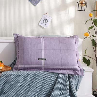 2021新款全棉月芽边波浪儿童枕枕头枕芯(40*60cm/只) 紫大格(单外套/个)