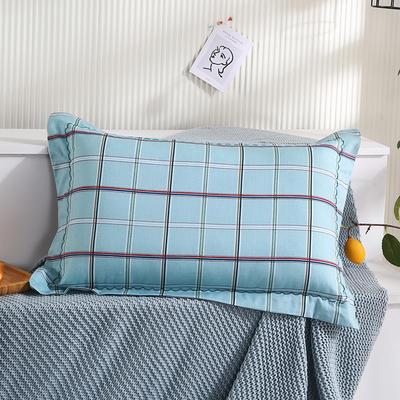 2021新款全棉月芽边波浪儿童枕枕头枕芯(40*60cm/只) 蓝格调(单外套/个)