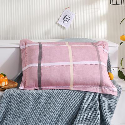 2021新款全棉月芽边波浪儿童枕枕头枕芯(40*60cm/只) 粉大格(单外套/个)