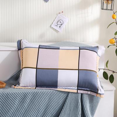 2021新款全棉月芽边波浪儿童枕枕头枕芯(40*60cm/只) 白灰黄大格(单外套/个)
