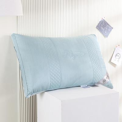2021新款全棉立体吸汗养颜羽丝枕枕头枕芯保健枕护颈枕(48*74cm/只) 蓝色