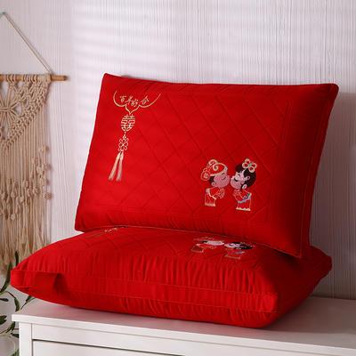 2021新款婚庆大红热熔水洗枕保健枕枕头枕芯48*74cm 大红