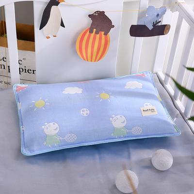 2021新款儿童纱布水洗枕枕芯枕头32*50cm 小兔蓝
