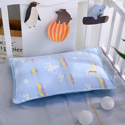 2021新款儿童纱布水洗枕枕芯枕头32*50cm 长颈鹿蓝