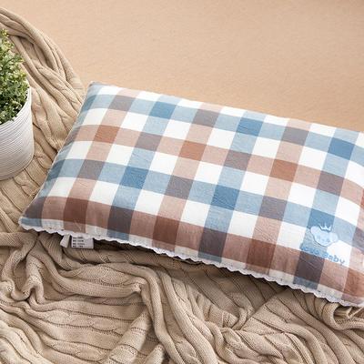 2021新款梭织儿童枕枕芯 紫蓝格羽丝芯-32*50cm