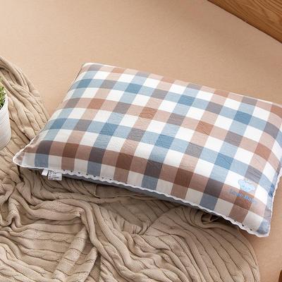 2021新款梭织儿童枕枕芯 紫蓝格羽丝芯-40*60cm