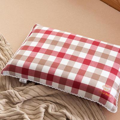 2021新款梭织儿童枕枕芯 红白格荞麦芯-40*60cm