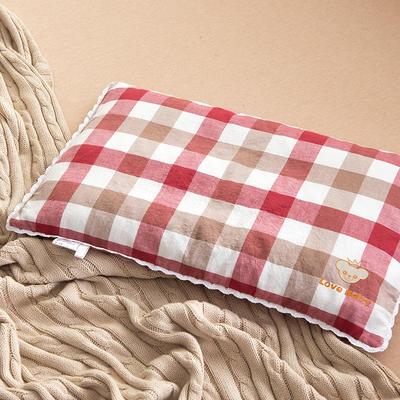 2021新款梭织儿童枕枕芯 红白格荞麦芯-32*50cm