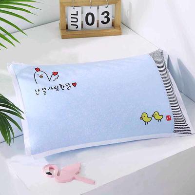 2021新款卡通绣花儿童水洗枕枕头枕芯--飞边款32*50cm 快乐小鸡--蓝(水洗芯)