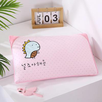2021新款卡通绣花儿童水洗枕枕头枕芯--滚边款32*50cm 金龟子--粉(水洗芯)