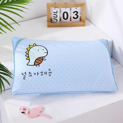 2021新款卡通绣花儿童水洗枕枕头枕芯--滚边款32*50cm 金龟子--蓝(水洗芯)
