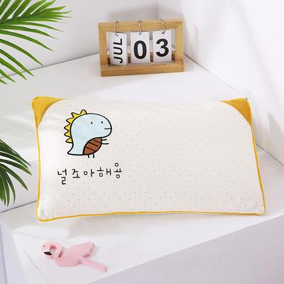 2021新款卡通绣花儿童水洗枕枕头枕芯--滚边款32*50cm 金龟子--米(荞麦芯)