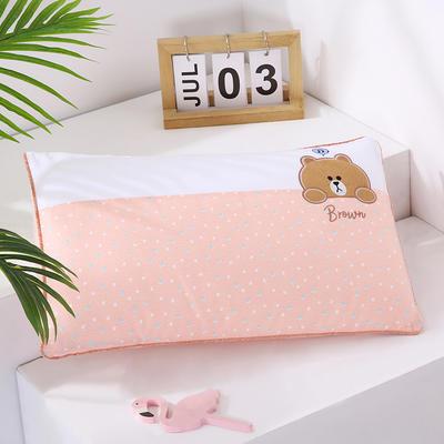 2021新款卡通绣花儿童水洗枕枕头枕芯--滚边款32*50cm 萌萌熊--粉(水洗芯)