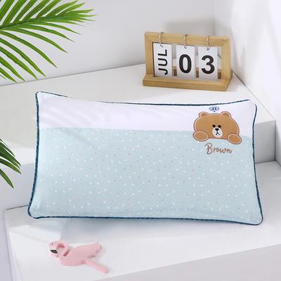 2021新款卡通绣花儿童水洗枕枕头枕芯--滚边款32*50cm 萌萌熊--蓝(荞麦芯)