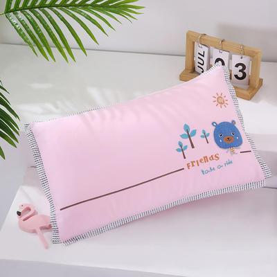 2021新款卡通绣花儿童水洗枕枕头枕芯--飞边款32*50cm 快乐熊--粉(水洗芯)