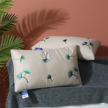 2021新款全棉绣花羽丝枕枕头枕芯--银杏叶48*74cm
