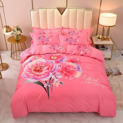 2020-新款生态磨毛四件套 床单款四件套1.5m(5英尺) 爱在巴黎-粉
