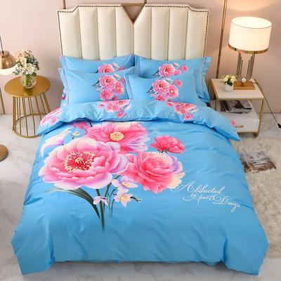 2020-新款生态磨毛四件套 床单款四件套1.5m(5英尺) 爱在巴黎-蓝