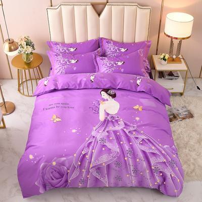 2020-新款生态磨毛四件套 床单款四件套1.5m(5英尺) 貌美如花-紫