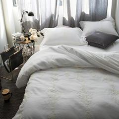 布谷 80S天丝四件套60s长绒棉床上用品纯色刺绣蕾丝   皓月 1.5m(5英尺)床 皓月