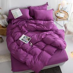 布谷家纺 纯色蝴蝶结绣花四件套紫水晶 1.2m(4英尺)床 紫水晶