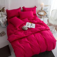 布谷家纺 纯色蝴蝶结绣花四件套胭脂红 1.2m(4英尺)床 胭脂红