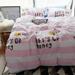 布谷 水洗棉印花四件套 永恒的爱   粉