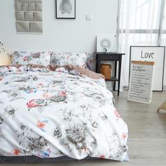 布谷 细丝磨毛四件套活性斜纹仿棉四件套 柔梦花间 1.2m(4英尺)床 柔梦花间
