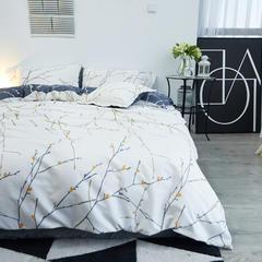 布谷 细丝磨毛四件套活性斜纹仿棉四件套花意枝头 1.2m(4英尺)床 花意枝头