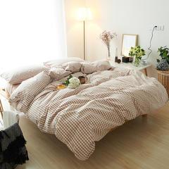 布谷 全棉色织水洗棉四件套-粉色小格 1.2m(4英尺)床 粉色小格