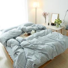 布谷   全棉色织水洗棉四件套-天蓝小格 1.2m(4英尺)床 蓝色小格