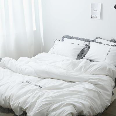布谷 北欧风蕾丝花边简约纯色四件套 1.5m(5英尺)床 Lace 白色